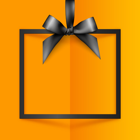 gift ribbon: Black vector gift box frame with silky bow and ribbon on orange folded paper background Illustration
