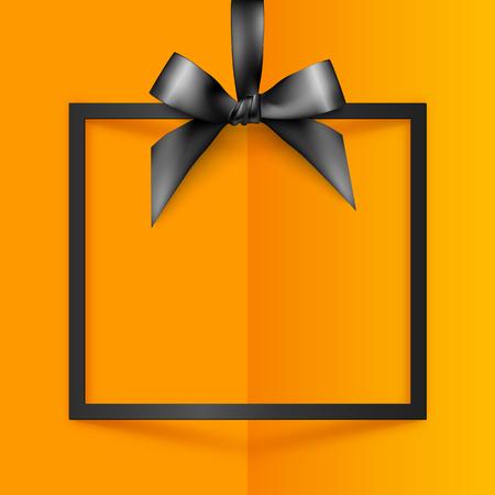 ruban noir: Noir vecteur boîte cadeau cadre avec arc soyeux et ruban sur fond orange de papier plié