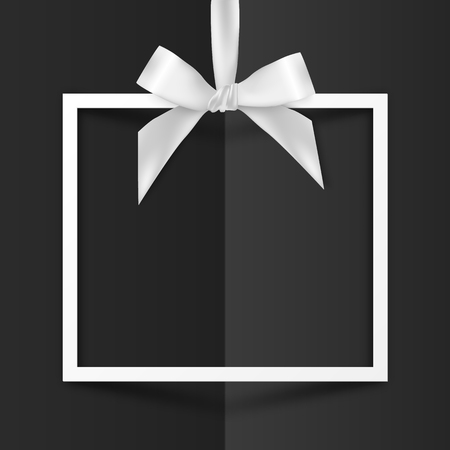 White vector gift box frame with silky bow on black folded paper background