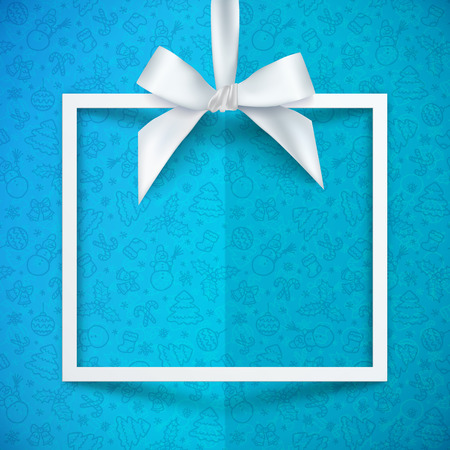 Weißes Papier Geschenk-Box Vektor-Rahmen mit seidigen Bug und Farbband auf blauem Hintergrund Weihnachten Muster Vektorgrafik