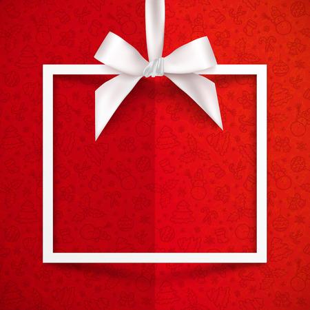 絹のような弓とクリスマス パターン背景が赤のリボンとホワイト ペーパー ギフト ボックス ベクトル フレーム