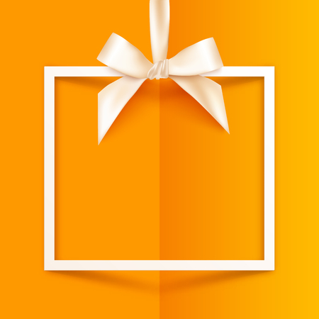 White vector gift box frame with silky bow and ribbon on orange folded paper background