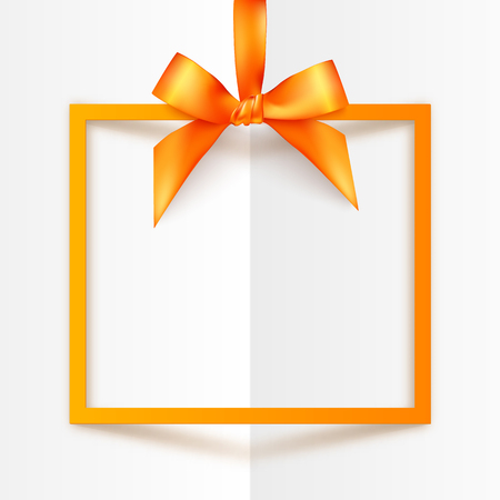 Orange vector gift box frame with silky bow and ribbon on white folded paper background Illustration