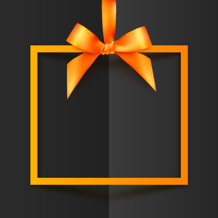 Orange vector gift box frame with silky bow and ribbon on black folded paper background