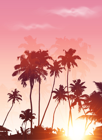 carribean: Pink sunset palms silhouettes vector poster background Illustration