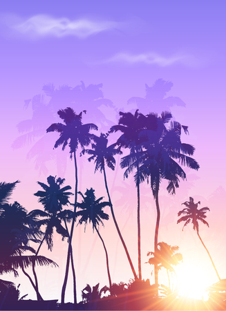 sunset beach: Violet sunrise palms silhouettes vector poster background