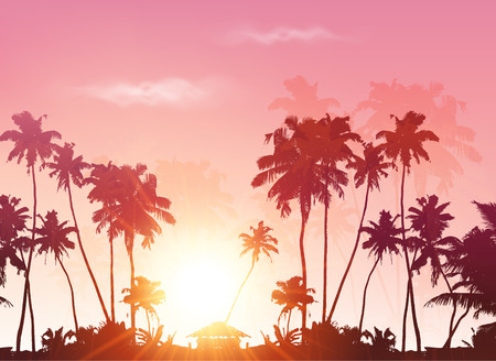 summer house: Palms silhouettes at pink sunset sky, vector background