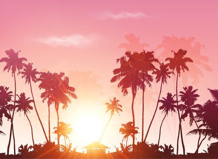 palmeras: Palms siluetas en el cielo del atardecer rosa, vector de fondo