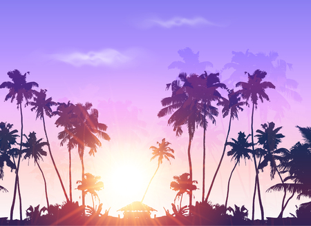 caribbean beach: Palms silhouettes at purple sunset sky, vector background Illustration