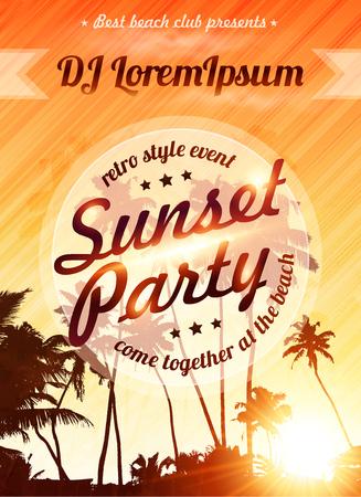 party dj: cielo del atardecer naranja con palmeras siluetas de la plantilla del cartel fiesta en la playa del vector