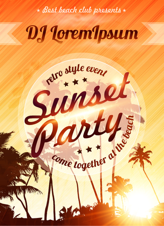 flyer party: Orange sunset sky with palms silhouettes vector beach party poster template