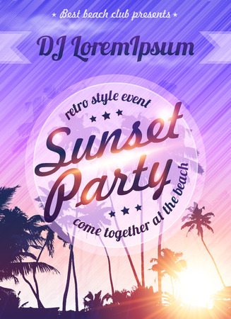sunset beach: Violet sunset sky with palms silhouettes vector beach party poster template