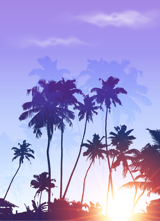 carribean: Blue sunrise palms silhouettes vector poster background