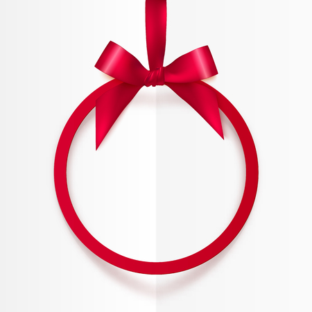 Bright vector holiday red round frame with bow and silky ribbon Çizim