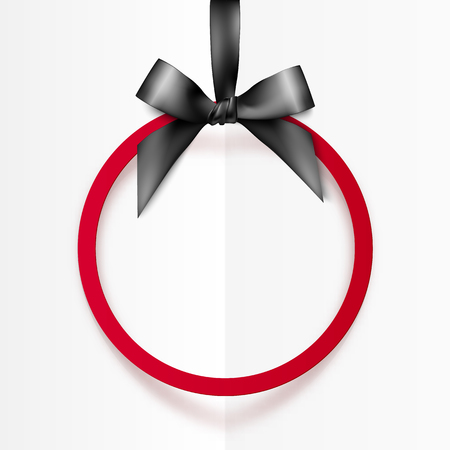 black bow: Red vector holiday round frame with black bow and silky ribbon Illustration