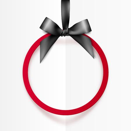 ruban noir: Rouge vecteur vacances monture ronde avec un arc noir et ruban soyeux