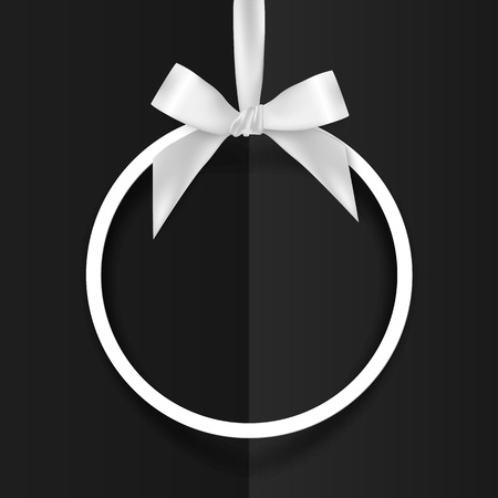 ribbon background: White vector holiday round frame with bow and silky ribbon on black background Illustration