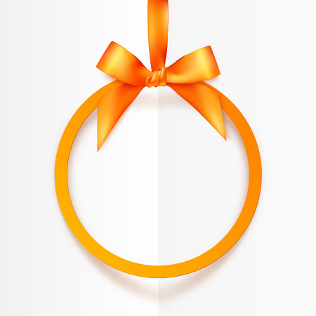 Orange round hanging vector frame with silky bow and ribbon