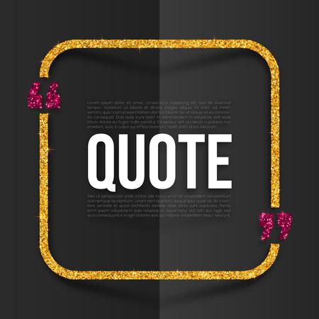 rosa negra: Rosa y oro vector cita marco con lugar para el texto en negro plegado de papel de fondo