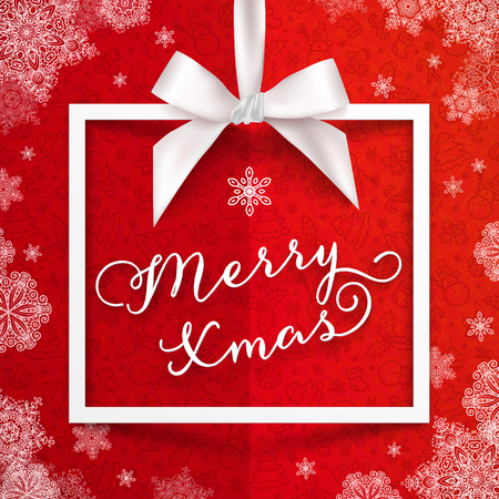 frame  box: White gift box frame with silky bow, ribbon and sign Merry Christmas on red snowflakes paper background