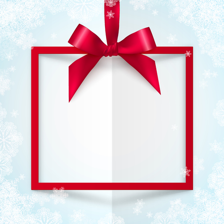 Red vector gift box frame with silky bow and ribbon on white snowflakes paper background Vectores