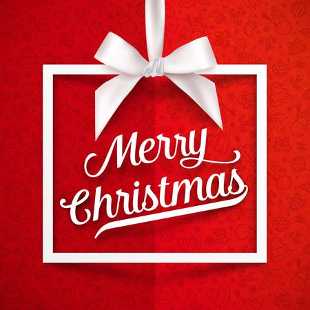 絹のような弓, リボン赤サインオン メリー クリスマスと白いギフト ボックス フレーム落書き用紙の背景  イラスト・ベクター素材