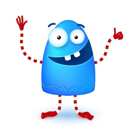 horn like: Blue funny cute little vector smiling monster