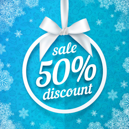 white ribbon: Fifty percents Christmas sale discount vector white ribbon tag with silky bow on blue background Illustration