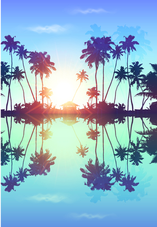 Blue sky vector palms silhouettes with reflection Vettoriali