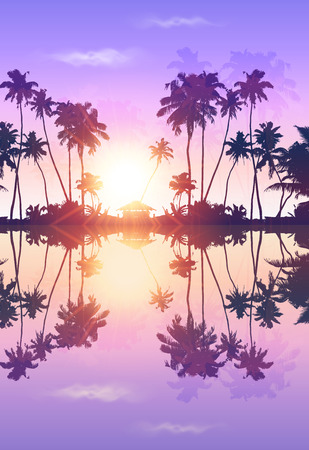 Violet sky romantic vector palms silhouettes with reflection