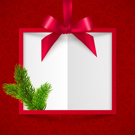 red ribbon bow: Red silky ribbon with bow and fir tree branch vector Christmas frame background