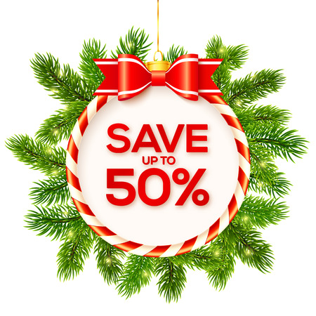 red circle: Christmas vector round frame with fir tree branches around and Save up to fifty percents sign Illustration