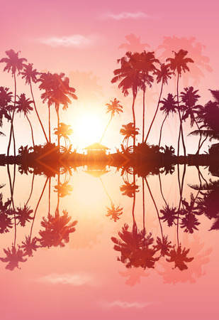 pink sky: Pink sky romantic vector palms silhouettes with reflection Illustration