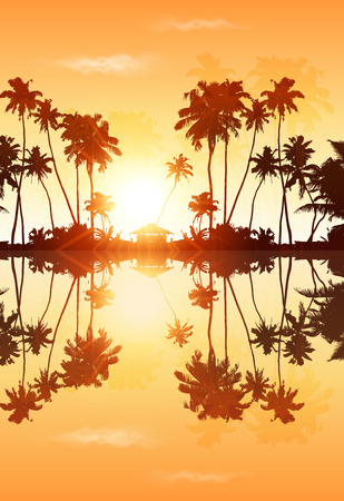 Orange sky vector palms silhouettes with reflection Illustration