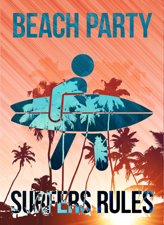 surfers: Beach surfers party vector poster template Illustration