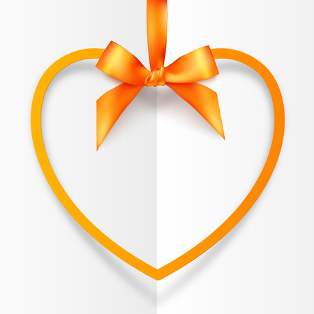 yellow heart: Orange hanging heart frame on silky ribbon with bow