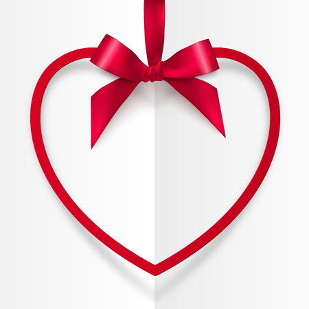 red ribbon bow: Red vector frame hanging on silky ribbon with bow, Valentines day card template Illustration
