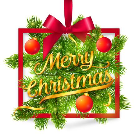 abetos: Marco del vector de Navidad con ramas de abeto verde, cinta de seda roja y arco de oro y firmar Feliz Navidad