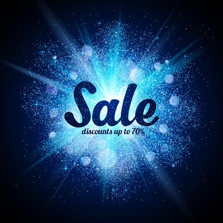 어두운 배경에서 파란색 반짝이 우주 스플래시에 벡터 판매 사인 스톡 콘텐츠 - 49759367