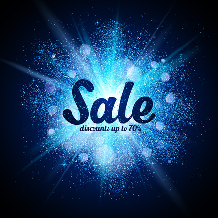 Vector Sale sign on blue glitter cosmic splash at dark background