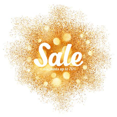 glamor: Golden sand splash vector Sale label on white background