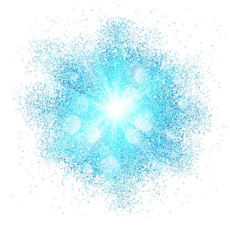 白い背景の上青いベクトル粉じん爆発スプラッシュ