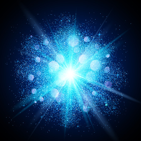 ash cloud: Blue vector dust explosion on black background