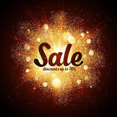 sales: Golden dust vector explosion with Sale sign