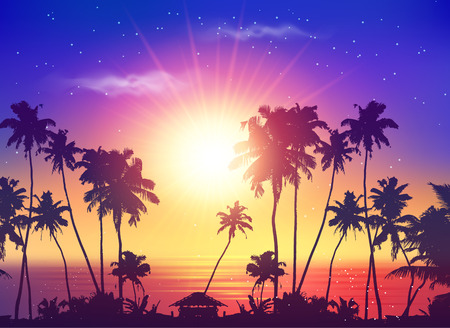 sunset beach: Vector ocean sunset sky with dark palm silhouettes and sun Illustration