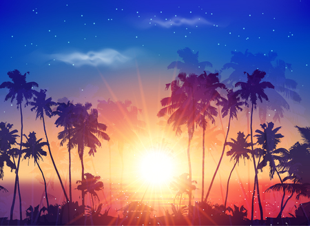 Vector ocean sunset sky with dark palm silhouettes and shining sun