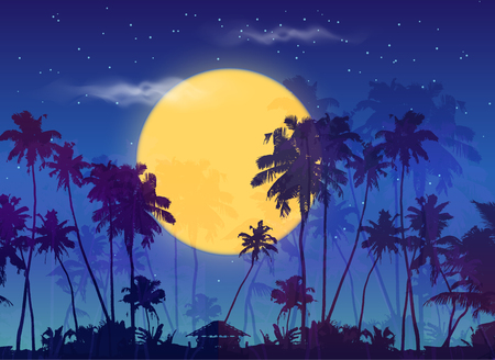 moonrise: Big yellow moon with dark palms silhouettes on purple sky, vector night landscape background