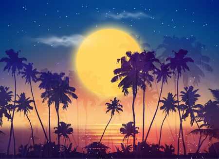 Retro style vector full moon sky with palm silhouettes