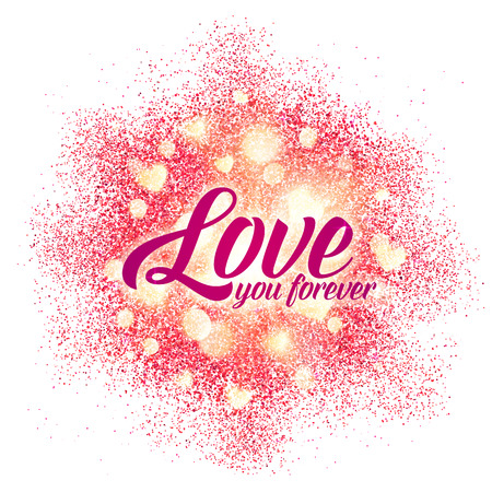 Love you forever sign on shining red glitter vector background