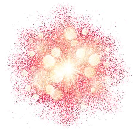 흰색 배경에 핑크 반짝이 빛나는 시작 벡터 텍스처